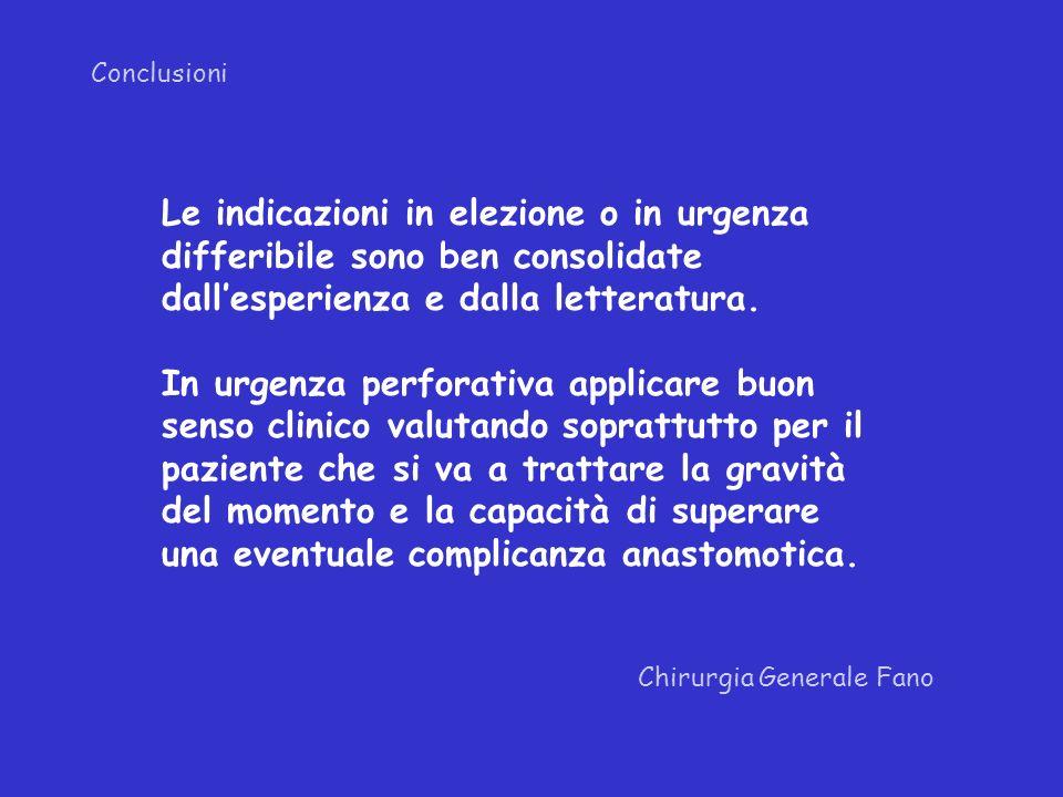 Conclusioni Le indicazioni in elezione o in urgenza differibile sono ben consolidate dall'esperienza e dalla letteratura.