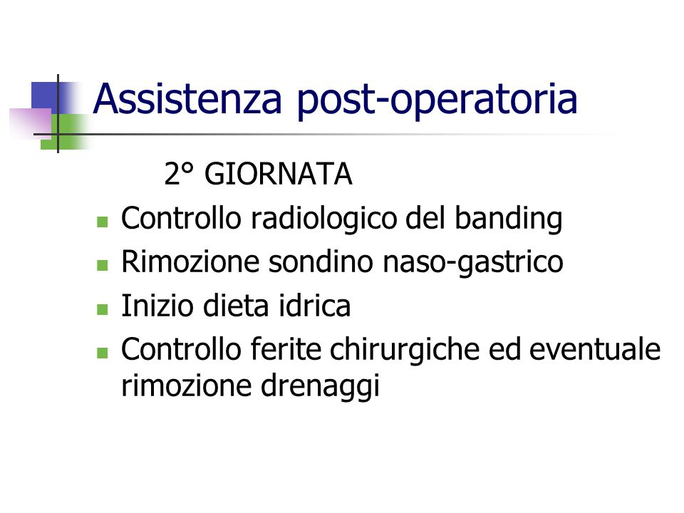 Assistenza post-operatoria