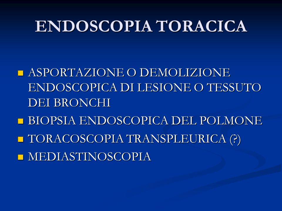 ENDOSCOPIA TORACICA ASPORTAZIONE O DEMOLIZIONE ENDOSCOPICA DI LESIONE O TESSUTO DEI BRONCHI. BIOPSIA ENDOSCOPICA DEL POLMONE.
