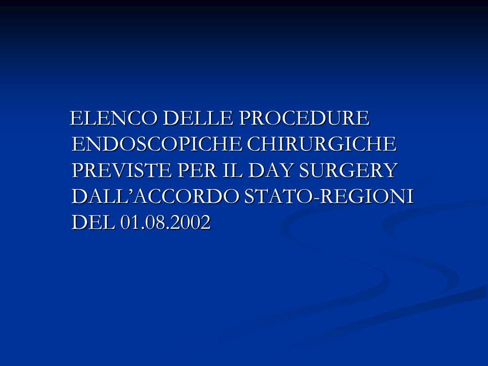 ELENCO DELLE PROCEDURE ENDOSCOPICHE CHIRURGICHE PREVISTE PER IL DAY SURGERY DALL'ACCORDO STATO-REGIONI DEL 01.08.2002