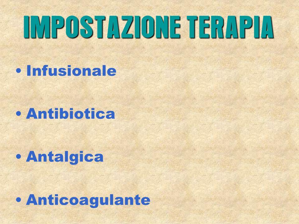 IMPOSTAZIONE TERAPIA Infusionale Antibiotica Antalgica Anticoagulante