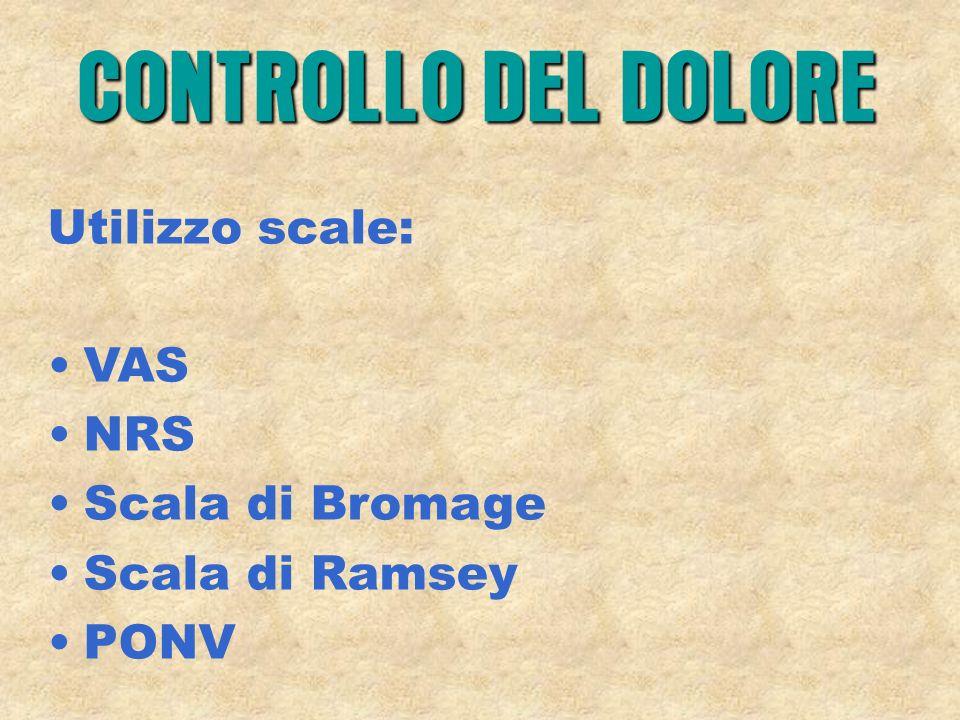 CONTROLLO DEL DOLORE Utilizzo scale: VAS NRS Scala di Bromage