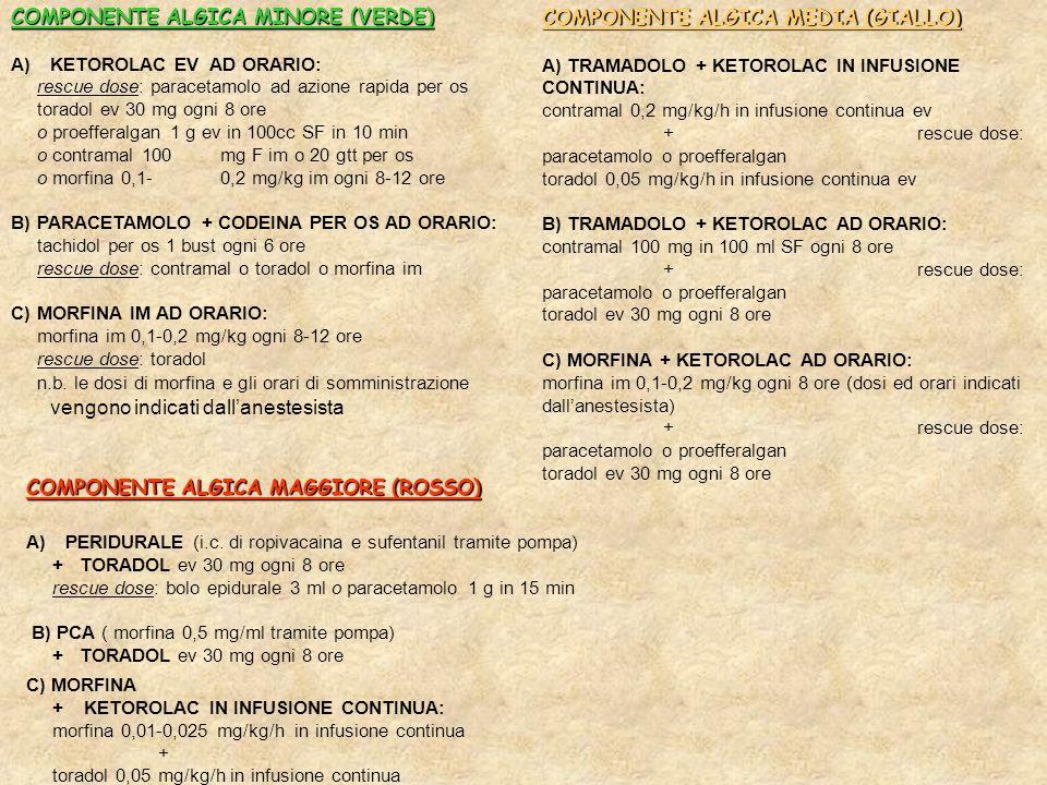 COMPONENTE ALGICA MINORE (VERDE) COMPONENTE ALGICA MEDIA (GIALLO)