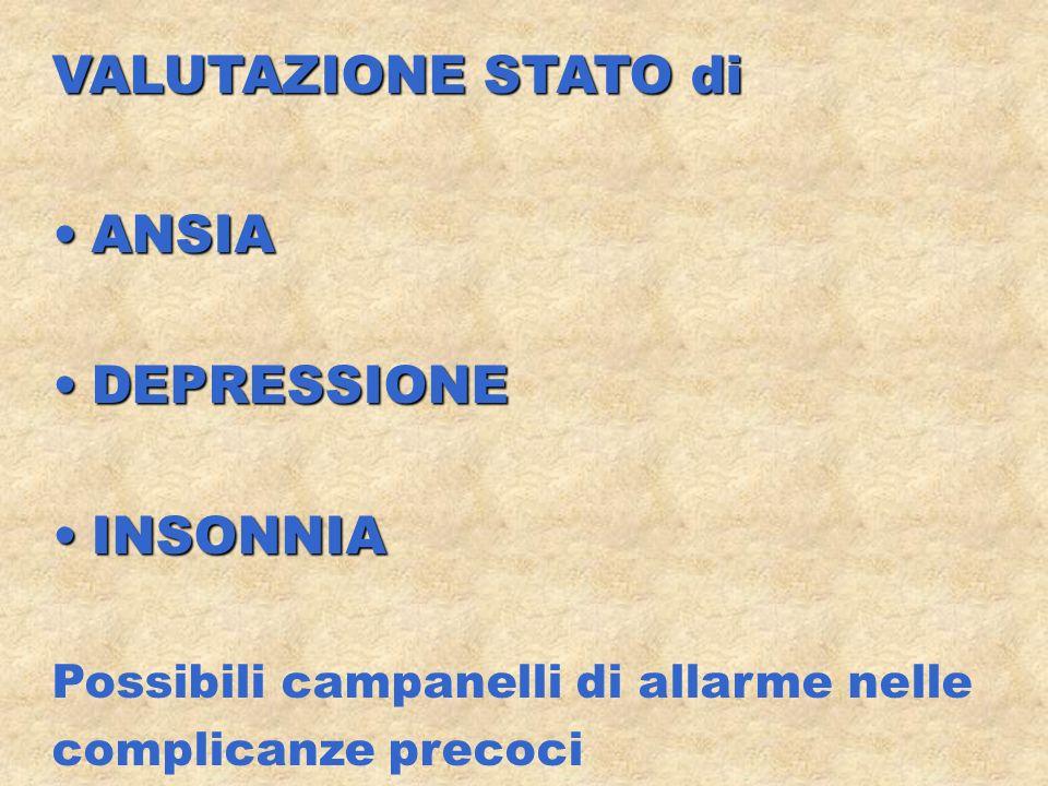 VALUTAZIONE STATO di ANSIA DEPRESSIONE INSONNIA