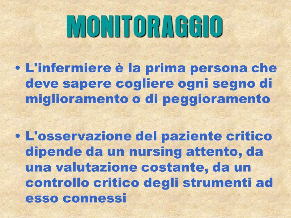 MONITORAGGIO L infermiere è la prima persona che deve sapere cogliere ogni segno di miglioramento o di peggioramento.
