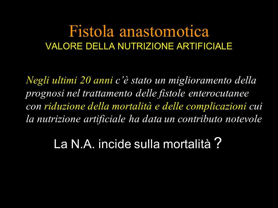 Fistola anastomotica VALORE DELLA NUTRIZIONE ARTIFICIALE