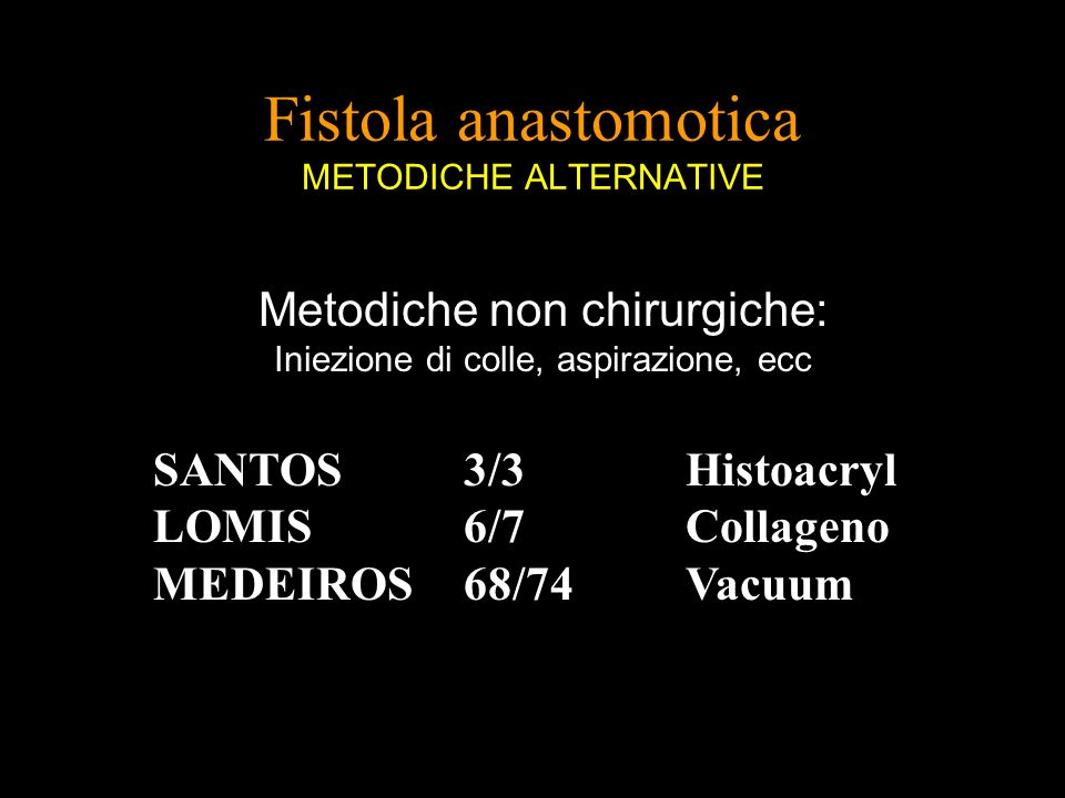 Fistola anastomotica METODICHE ALTERNATIVE