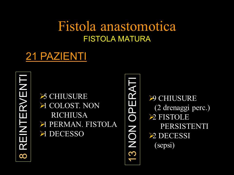 Fistola anastomotica FISTOLA MATURA