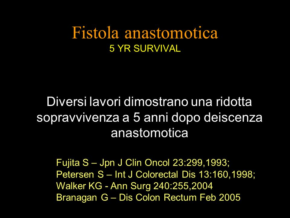 Fistola anastomotica 5 YR SURVIVAL