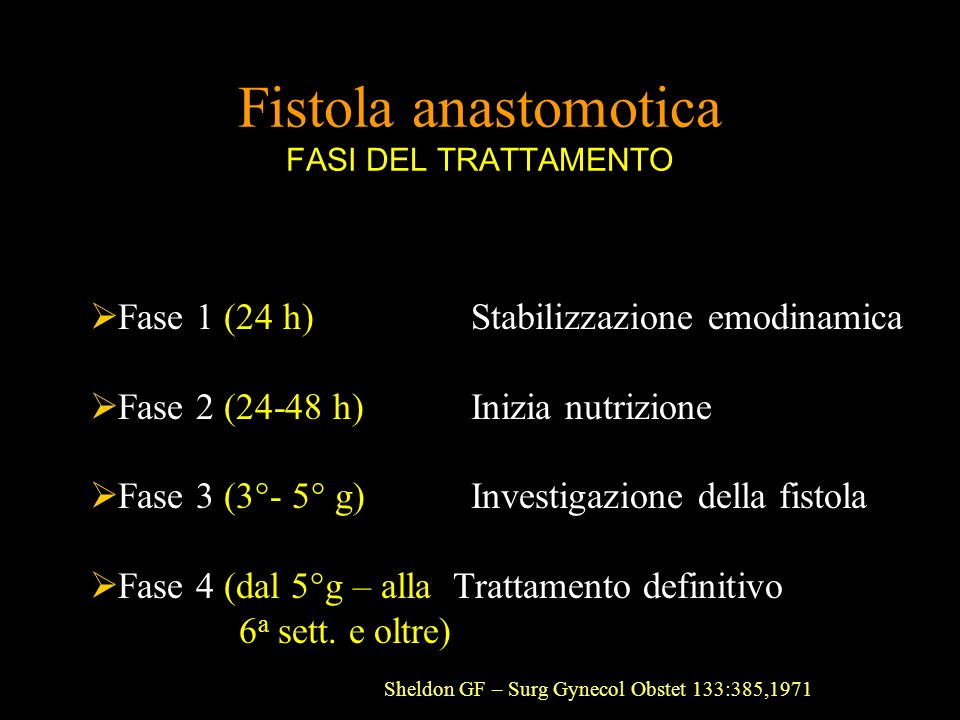 Fistola anastomotica FASI DEL TRATTAMENTO