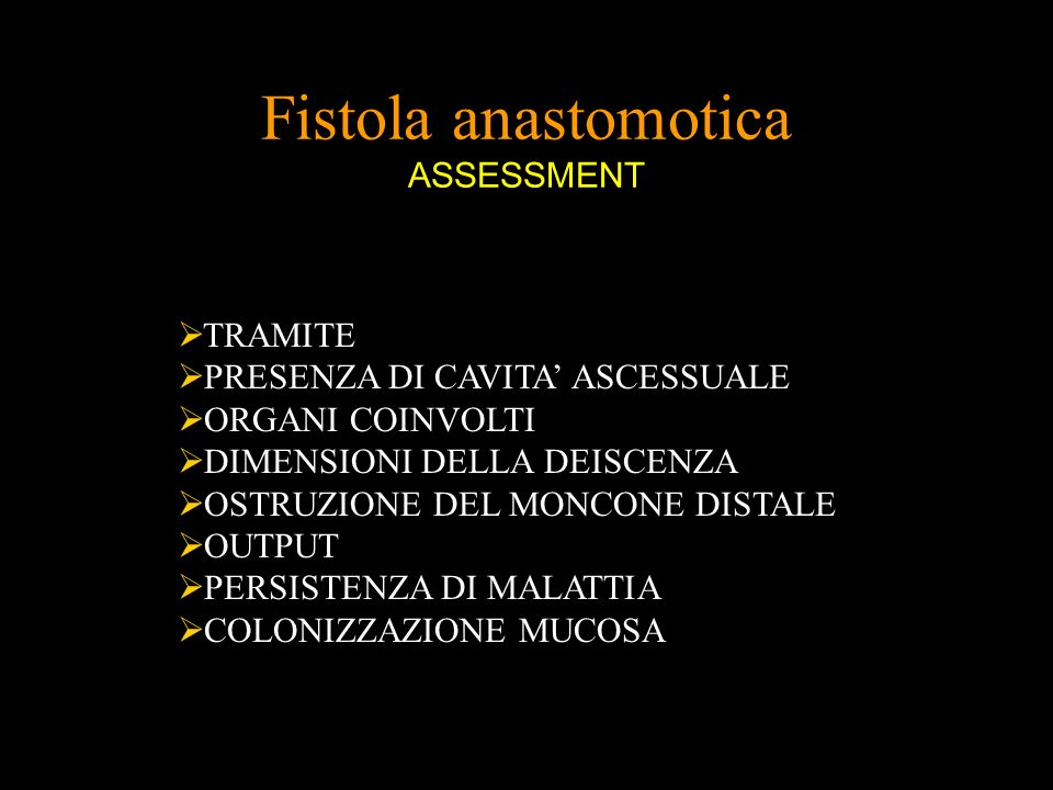 Fistola anastomotica ASSESSMENT