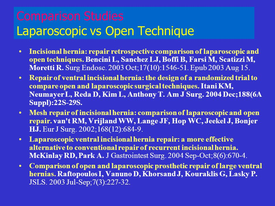 Comparison Studies Laparoscopic vs Open Technique