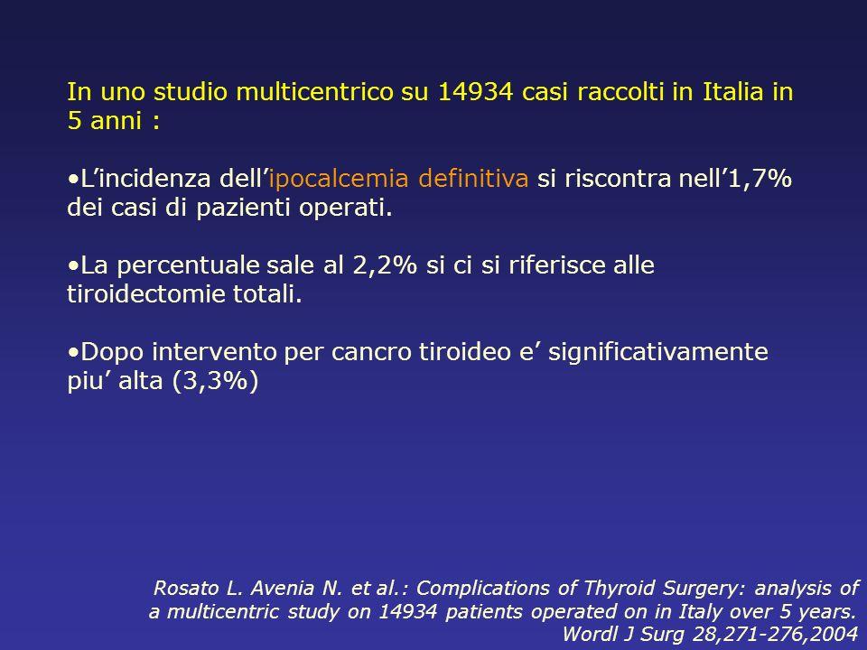 In uno studio multicentrico su 14934 casi raccolti in Italia in 5 anni :