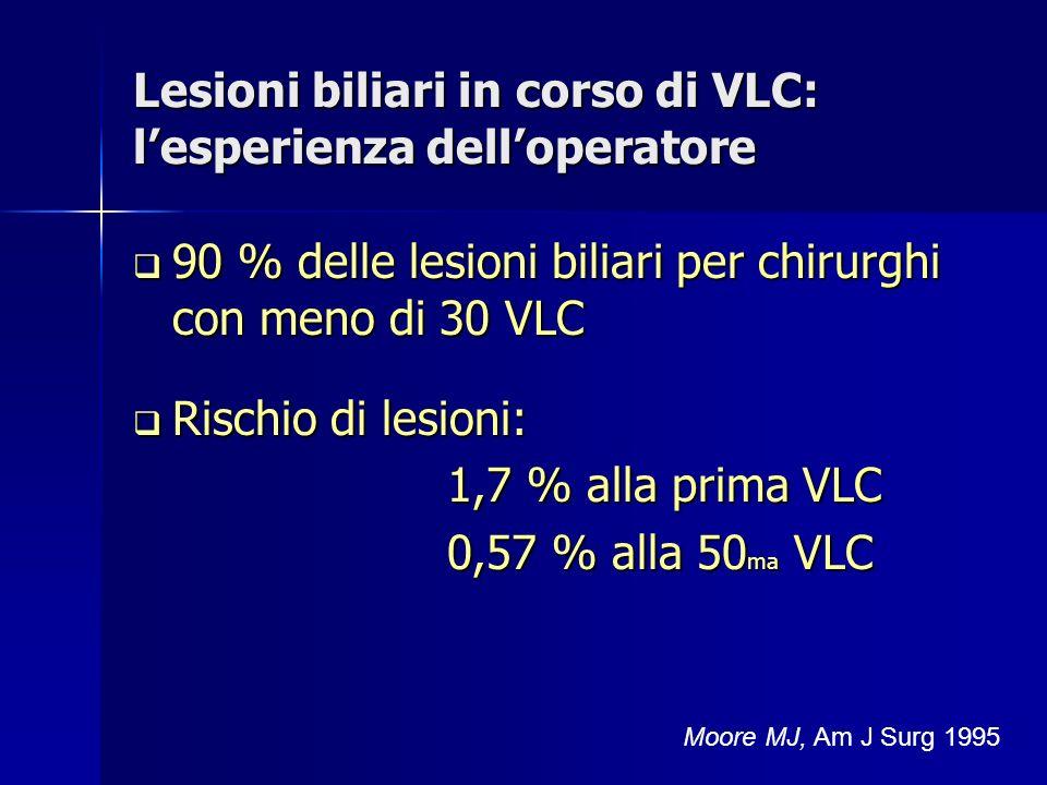 Lesioni biliari in corso di VLC: l'esperienza dell'operatore