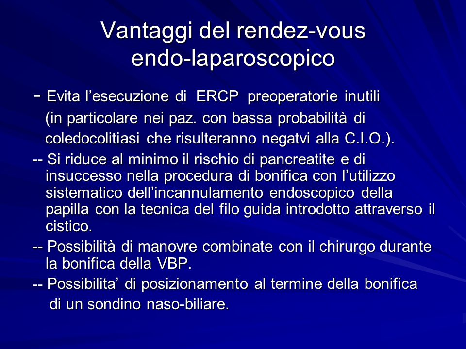 Vantaggi del rendez-vous endo-laparoscopico