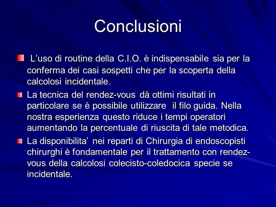 Conclusioni L'uso di routine della C.I.O. è indispensabile sia per la conferma dei casi sospetti che per la scoperta della calcolosi incidentale.