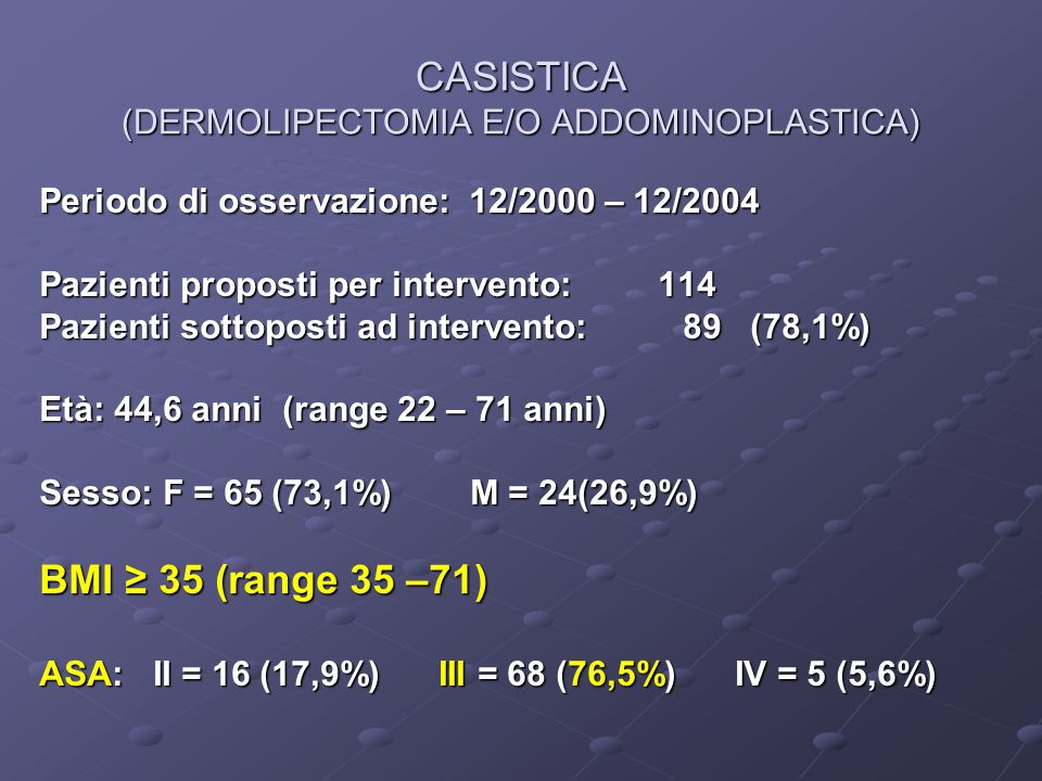 CASISTICA (DERMOLIPECTOMIA E/O ADDOMINOPLASTICA)