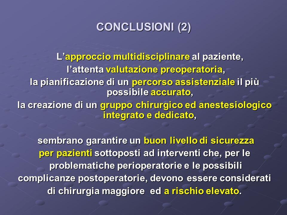 CONCLUSIONI (2) L'approccio multidisciplinare al paziente,