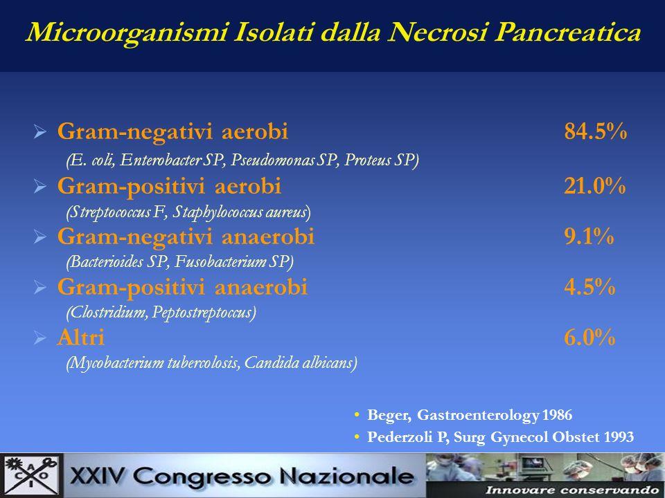 Microorganismi Isolati dalla Necrosi Pancreatica