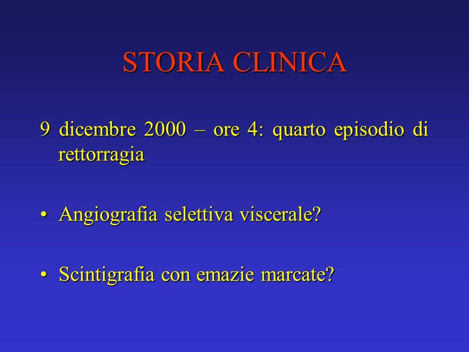 STORIA CLINICA 9 dicembre 2000 – ore 4: quarto episodio di rettorragia
