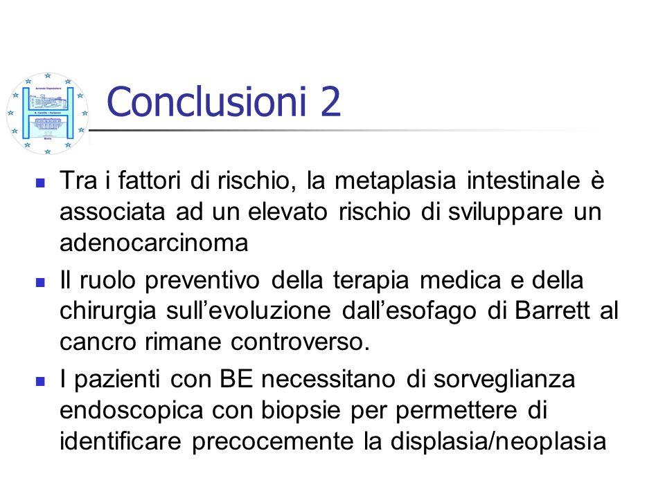 Conclusioni 2 Tra i fattori di rischio, la metaplasia intestinale è associata ad un elevato rischio di sviluppare un adenocarcinoma.