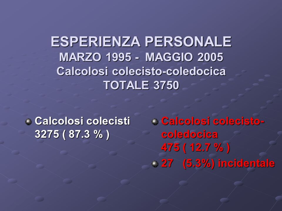ESPERIENZA PERSONALE MARZO 1995 - MAGGIO 2005 Calcolosi colecisto-coledocica TOTALE 3750