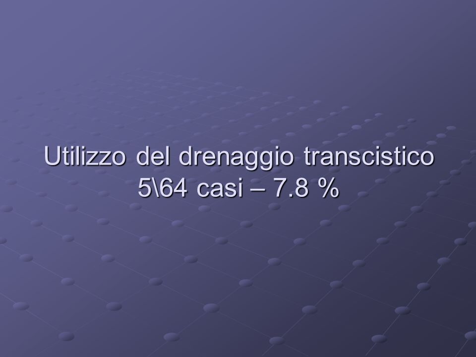 Utilizzo del drenaggio transcistico 5\64 casi – 7.8 %