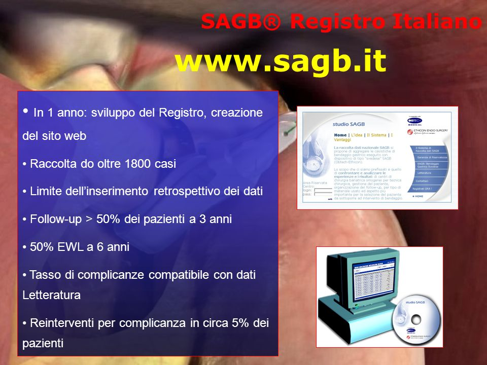 www.sagb.it In 1 anno: sviluppo del Registro, creazione del sito web