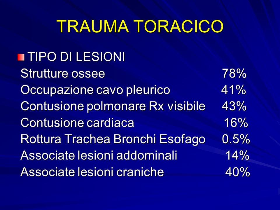 TRAUMA TORACICO TIPO DI LESIONI Strutture ossee 78%
