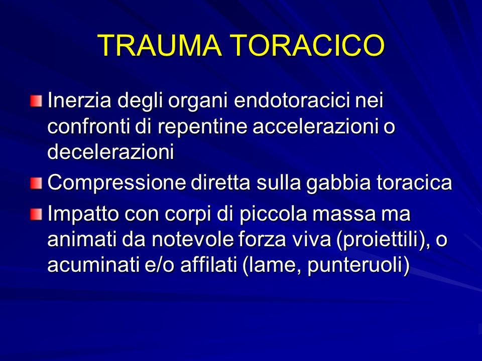 TRAUMA TORACICO Inerzia degli organi endotoracici nei confronti di repentine accelerazioni o decelerazioni.