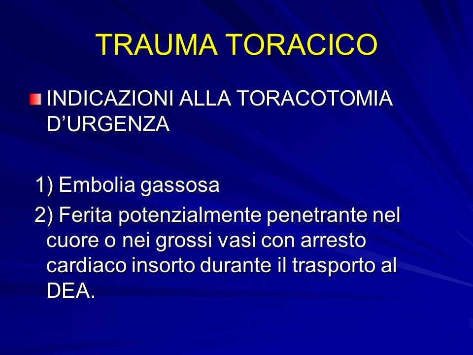 TRAUMA TORACICO INDICAZIONI ALLA TORACOTOMIA D'URGENZA