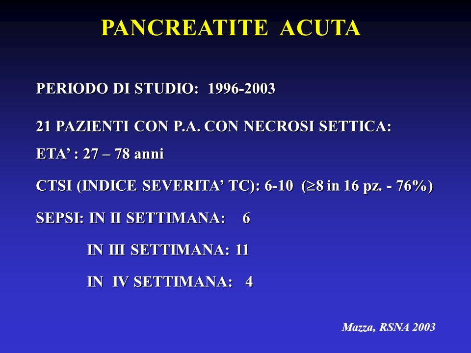 PANCREATITE ACUTA PERIODO DI STUDIO: 1996-2003