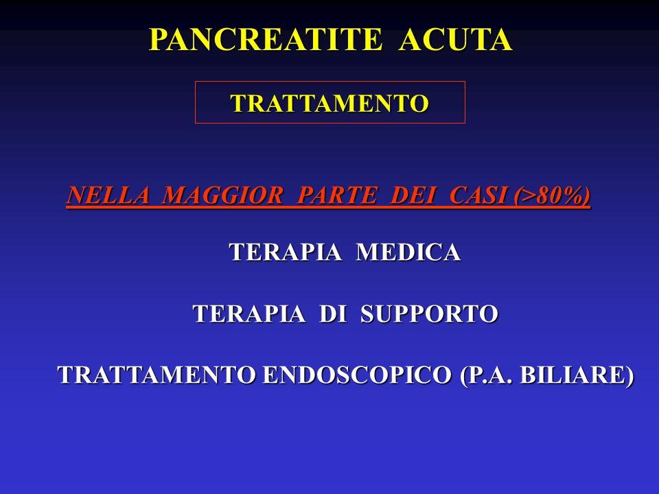PANCREATITE ACUTA TRATTAMENTO NELLA MAGGIOR PARTE DEI CASI (>80%)