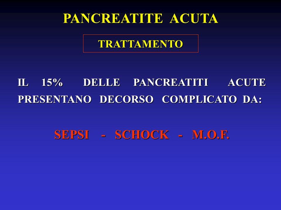 PANCREATITE ACUTA SEPSI - SCHOCK - M.O.F. TRATTAMENTO
