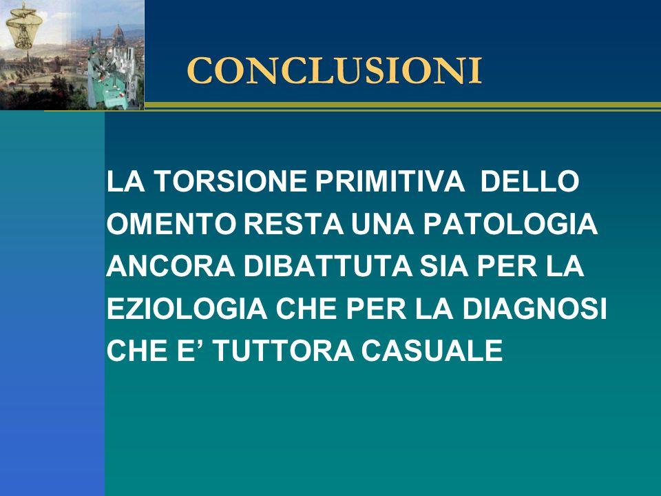 CONCLUSIONI LA TORSIONE PRIMITIVA DELLO OMENTO RESTA UNA PATOLOGIA