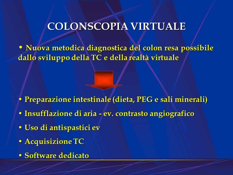 COLONSCOPIA VIRTUALE Nuova metodica diagnostica del colon resa possibile dallo sviluppo della TC e della realtà virtuale.
