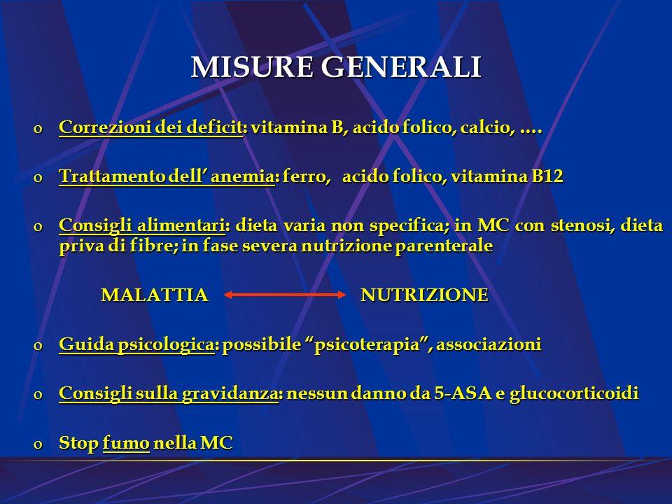 MISURE GENERALI Correzioni dei deficit: vitamina B, acido folico, calcio, …. Trattamento dell' anemia: ferro, acido folico, vitamina B12.