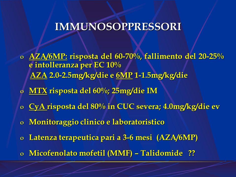IMMUNOSOPPRESSORI AZA/6MP: risposta del 60-70%, fallimento del 20-25% e intolleranza per EC 10% AZA 2.0-2.5mg/kg/die e 6MP 1-1.5mg/kg/die.