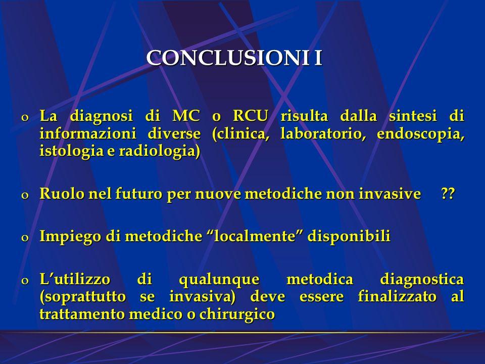CONCLUSIONI I La diagnosi di MC o RCU risulta dalla sintesi di informazioni diverse (clinica, laboratorio, endoscopia, istologia e radiologia)