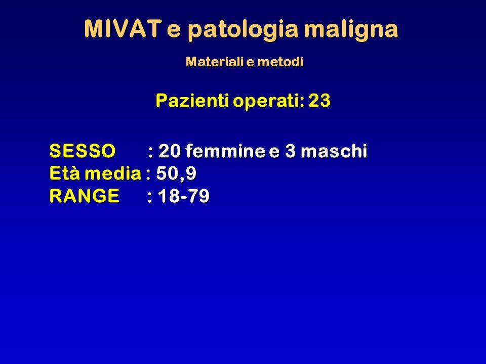 MIVAT e patologia maligna Materiali e metodi
