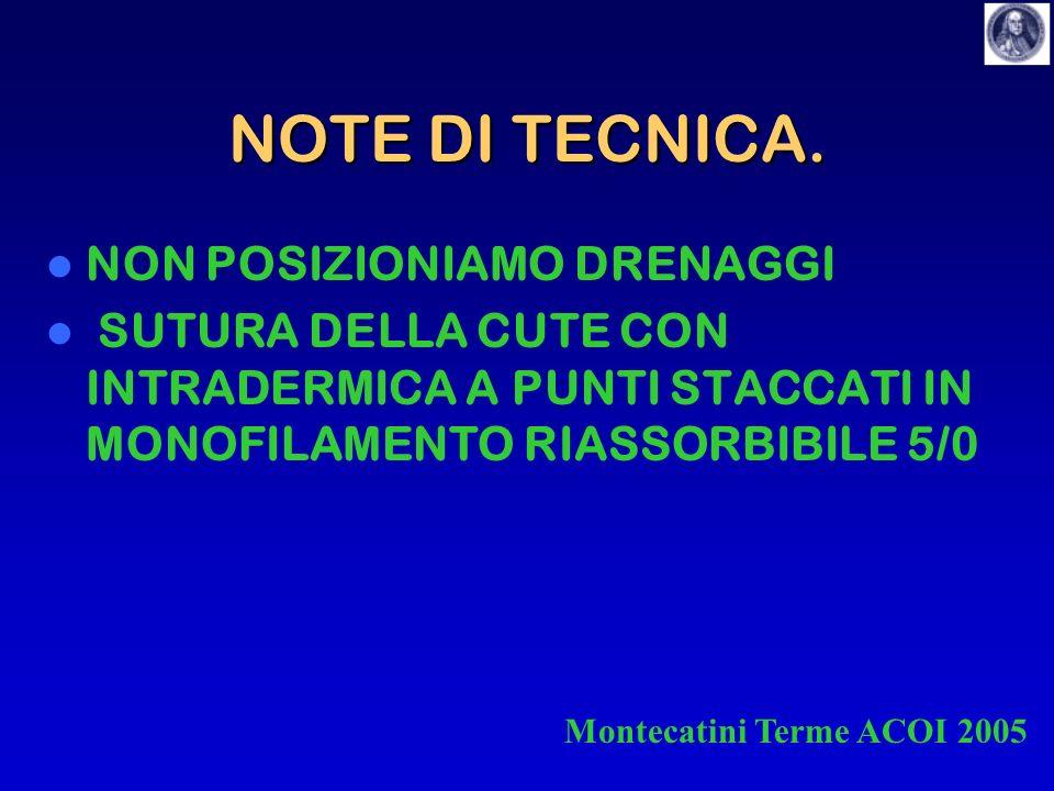 NOTE DI TECNICA. NON POSIZIONIAMO DRENAGGI