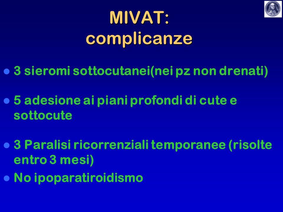 MIVAT: complicanze 3 sieromi sottocutanei(nei pz non drenati)