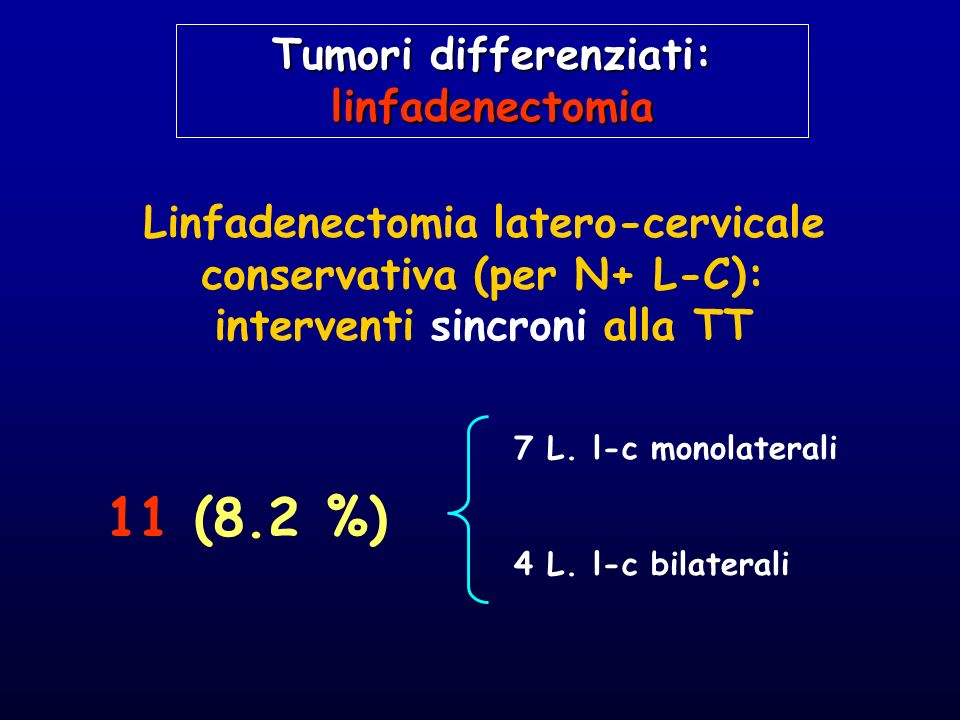 11 (8.2 %) Tumori differenziati: linfadenectomia
