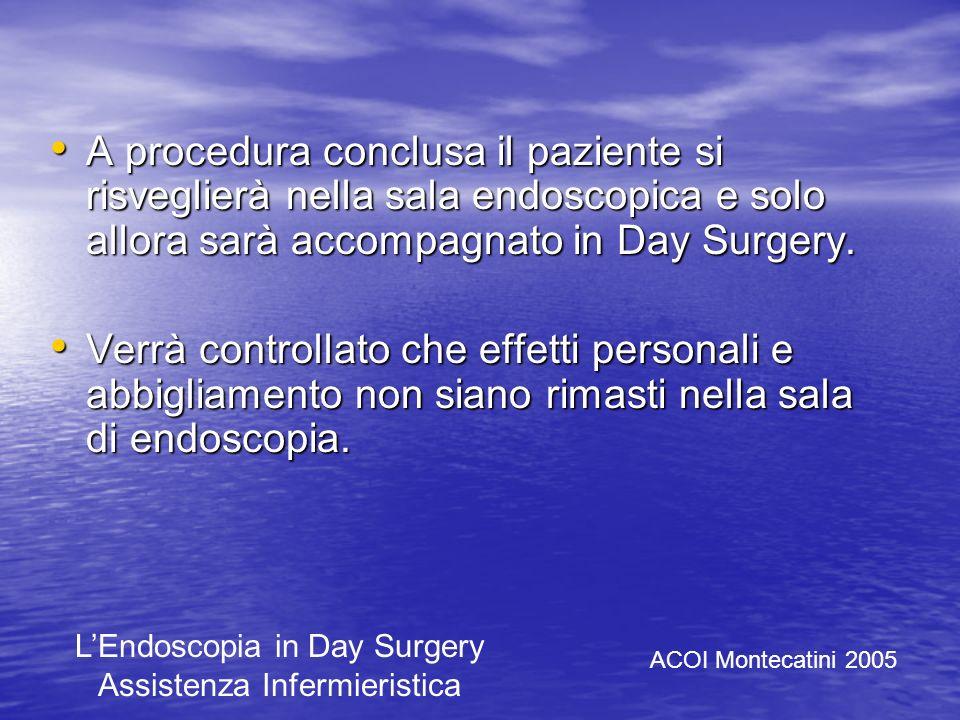 A procedura conclusa il paziente si risveglierà nella sala endoscopica e solo allora sarà accompagnato in Day Surgery.