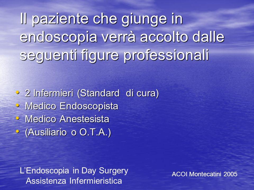 Il paziente che giunge in endoscopia verrà accolto dalle seguenti figure professionali