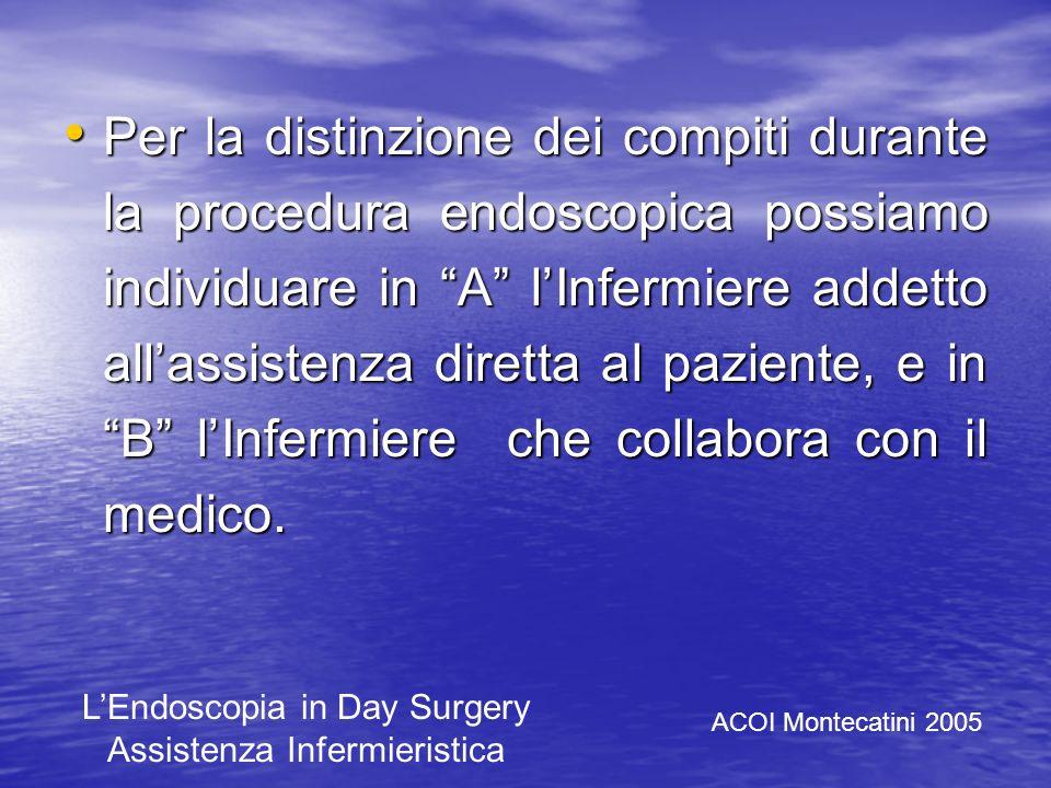 Per la distinzione dei compiti durante la procedura endoscopica possiamo individuare in A l'Infermiere addetto all'assistenza diretta al paziente, e in B l'Infermiere che collabora con il medico.