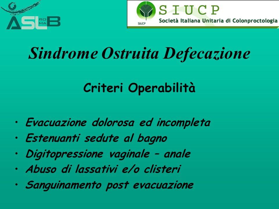 Sindrome Ostruita Defecazione