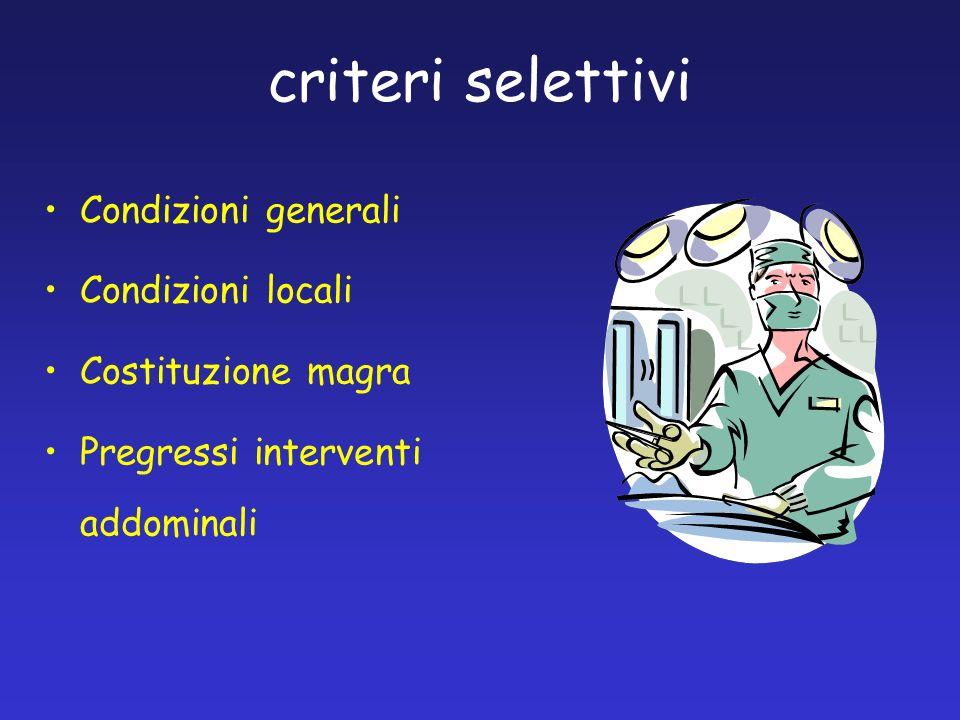 criteri selettivi Condizioni generali Condizioni locali