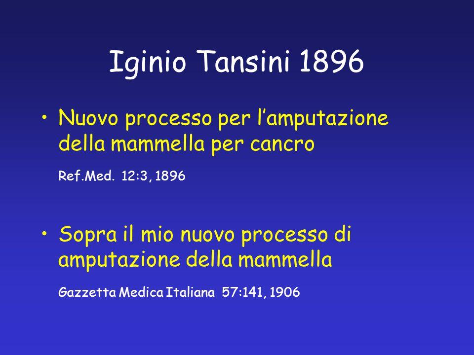 Iginio Tansini 1896 Nuovo processo per l'amputazione della mammella per cancro. Ref.Med. 12:3, 1896.