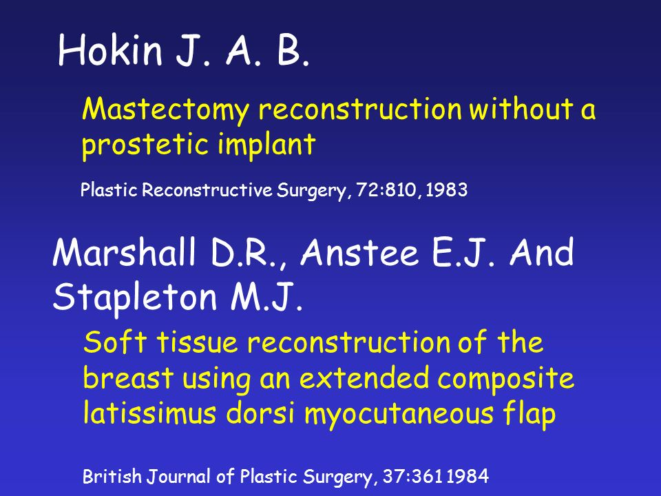 Hokin J. A. B. Marshall D.R., Anstee E.J. And Stapleton M.J.